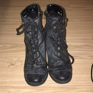 Woman's Black Heeled Boots - Size 5